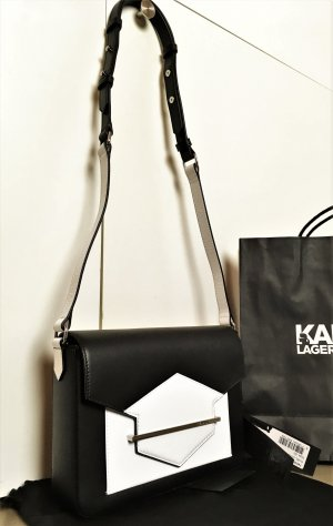 * KARL Karl Lagerfeld * NEU ! SCHULTER Tasche CLUTCH LEDER schwarz weiß