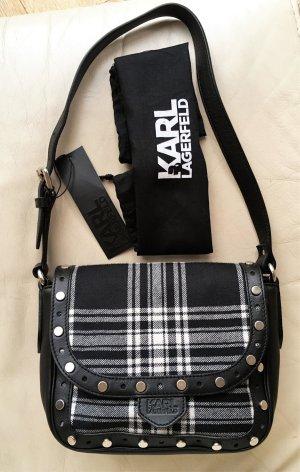 * KARL Karl Lagerfeld * NEU !  Tasche im Tartan LOOK LEDER WOLLE schwarz weiß NIETEN
