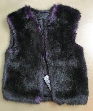 Karl Lagerfeld Smanicato di pelliccia nero-marrone-viola Pelliccia ecologica