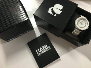 Karl Lagerfeld Armbanduhr Damenuhr Uhr Weiß Silikon