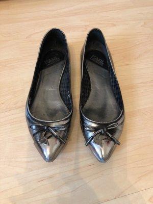 Karl Lagerfeld Ballerina Slipper Schuhe silber grau