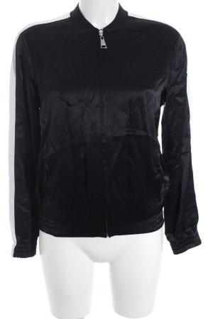 Karl Lagerfeld Blouson schwarz-weiß Streifenmuster Glanz-Optik