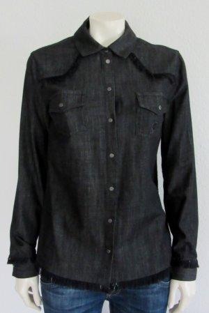 KARL LAGERFELD Bluse Gr. 42 schwarz Logo
