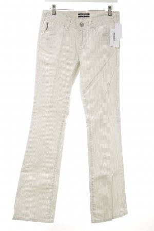 Karl Lagerfeld Boot Cut Jeans creme-hellgrau Streifenmuster Casual-Look