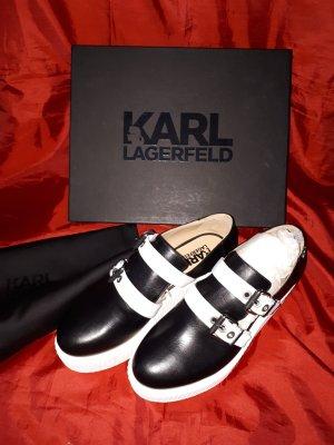 Karl Lagerfeld Scarpa slip-on nero-bianco Pelle