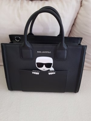 Karl Lagerfeld Designer Tasche schwarz weiß Handtasche Classic Business