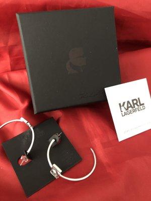Karl Lagerfeld Pendientes tipo aro color plata acero inoxidable