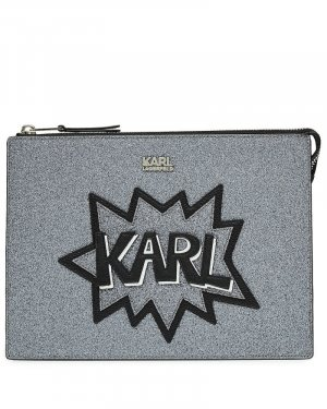 Karl Lagerfeld Glitter-Clutch K/Pop mit Applikation