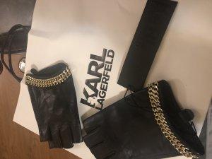 Karl Lagerfeld Guantes con dedos negro-color oro