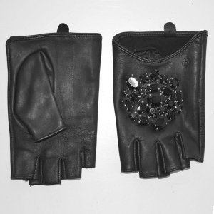 Karl Lagerfeld Fingerless Gloves black leather