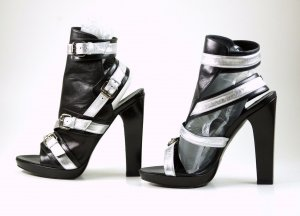 Karl Lagerfeld High Heel Sandal black-silver-colored leather