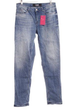 Karl Lagerfeld Lage taille broek staalblauw Jeans-look