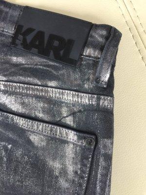 Karl Lagerfeld Vaquero estilo zanahoria negro-color plata