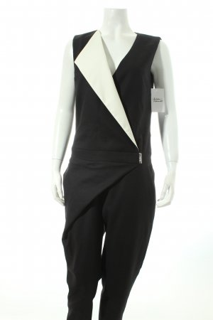 Karl Lagerfeld Jumpsuit schwarz-wollweiß Colourblocking Business-Look