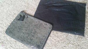 Karl Lagerfeld Laptop Tasche Clutch Leder silber