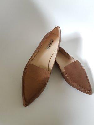 Karl Lagerfeld Leder Schuhe in gold / bronze, Größe 41,5