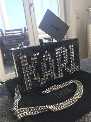 Karl Lagerfeld Clutch black-silver-colored synthetic material