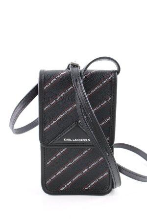 Karl Lagerfeld Minitasche schwarz-weiß Schriftzug gedruckt Casual-Look
