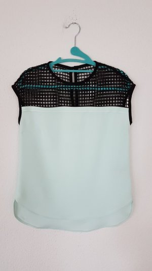 Karl Lagerfeld Mint Mesh Paneled Crepe Top Bluse NP: 369€