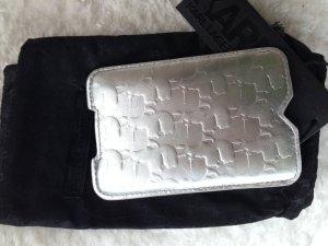 KARL LAGERFELD * NEU ! Handy Tasche IPhone Cover Hülle LEDER silber