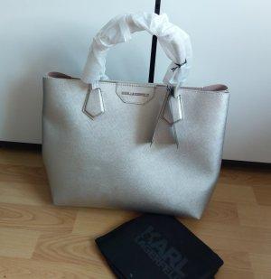 Karl Lagerfeld neu shopper silber handtasche schultertasche