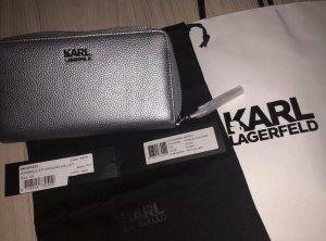 Karl Lagerfeld Portmonee Geldbörse Pebble ZIP Around Wallet Color A979 Silber UVP 165 Euro.