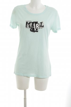 Karl Lagerfeld Print-Shirt türkis Schriftzug gedruckt Casual-Look