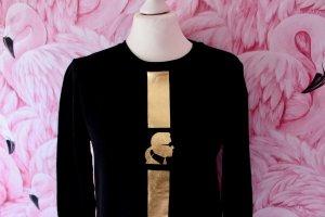 Karl Lagerfeld Suéter negro-color oro Algodón