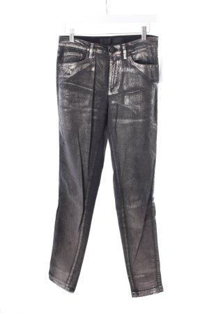 Karl Lagerfeld Röhrenjeans silberfarben-dunkelgrau Metallic-Optik