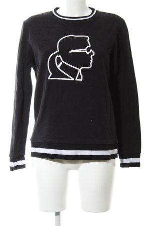 Karl Lagerfeld Rundhalspullover schwarz Motivdruck Casual-Look