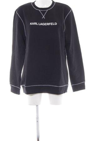Karl Lagerfeld Rundhalspullover dunkelblau Schriftzug gedruckt Casual-Look