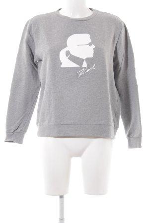 Karl Lagerfeld Kraagloze sweater lichtgrijs geplaatste afdruk casual uitstraling