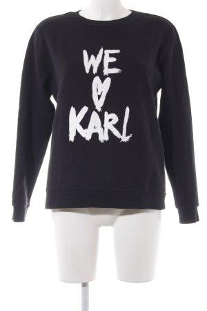 Karl Lagerfeld Kraagloze sweater zwart geplaatste afdruk casual uitstraling