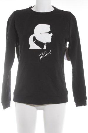 Karl Lagerfeld Rundhalspullover schwarz-weiß Casual-Look