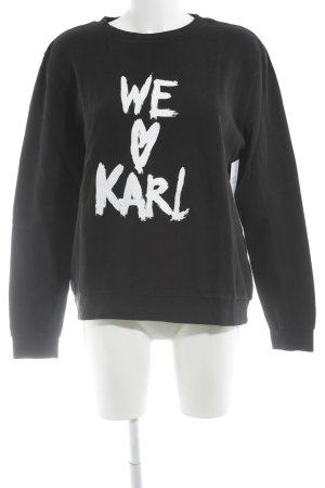 Karl Lagerfeld Rundhalspullover schwarz-weiß Schriftzug gedruckt Casual-Look