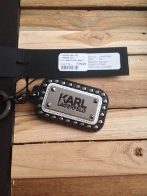 Karl Lagerfeld Key Chain black-silver-colored leather