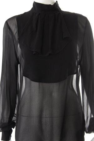 Karl Lagerfeld Schluppen-Bluse schwarz Transparenz-Optik