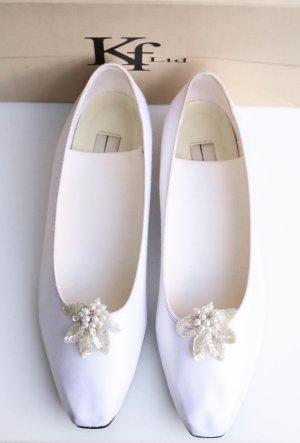 Karl Lagerfeld Schuhe Hochzeit Hochzeitsschuhe Ballerina Halbschuhe weiß basic elegant