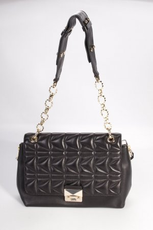 Karl Lagerfeld Schultertasche Shoulderbag Quilted Lambskin Large Black/Gold