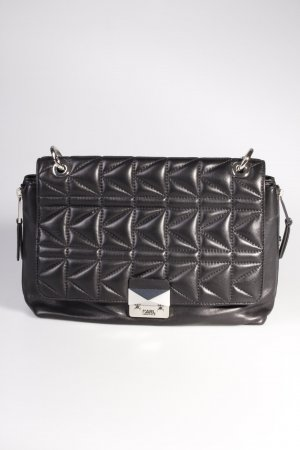 Karl Lagerfeld Schultertasche Shoulderbag Quilted Lambskin Large Black/Silver