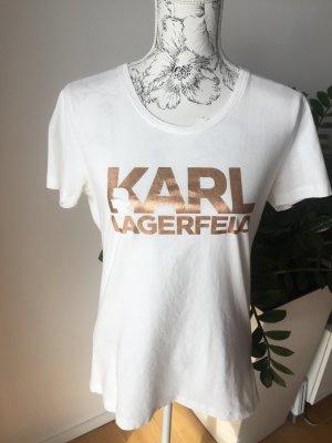 Karl Lagerfeld Shirt T-Shirt weiß Roségold Gr L NEU