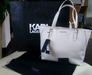KARL LAGERFELD Shopper Handtasche Leder Creme Beige OVP € 295,00 ***NEU***