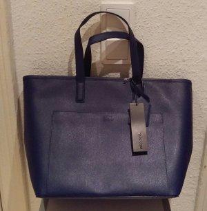 karl lagerfeld shopper tasche schultertasche blau marine leder neu