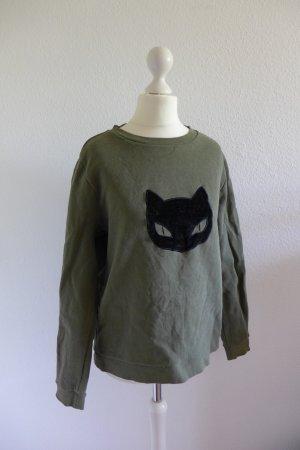 Karl Lagerfeld Sweater Sweatshirt Pulli Pullover Katze khaki grün schwarz 34 36
