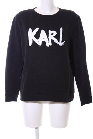 Karl Lagerfeld Sweatshirt schwarz-weiß Schriftzug gedruckt Casual-Look