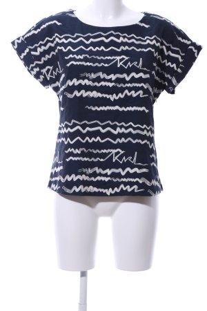Karl Lagerfeld T-Shirt blau-weiß abstraktes Muster Casual-Look