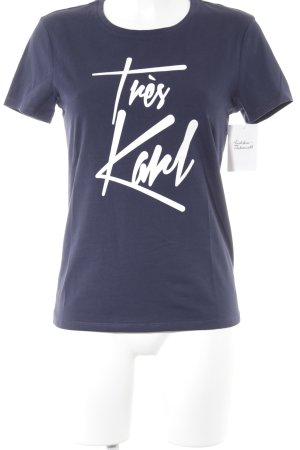 Karl Lagerfeld T-Shirt dunkelblau-weiß Schriftzug gedruckt schlichter Stil