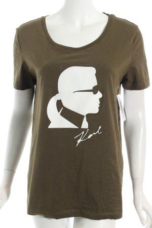 Karl Lagerfeld T-Shirt khaki-weiß Motivdruck Casual-Look