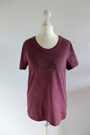 Karl Lagerfeld T Shirt rockig ACDC Used Look rot schwarz Gr. XS 34 36 neu