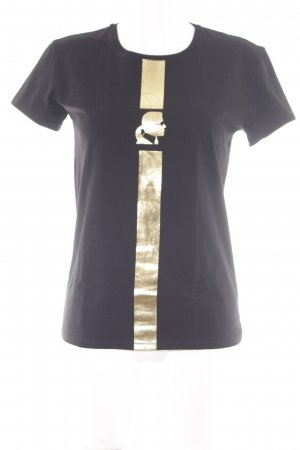 Karl Lagerfeld T-Shirt schwarz-goldfarben Motivdruck Casual-Look